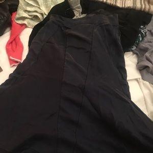 Navy Silk Prada Skirt